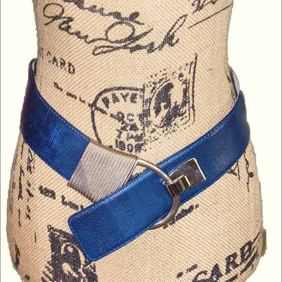 VTG- Thick Blue Alligator Leather Belt - RARE